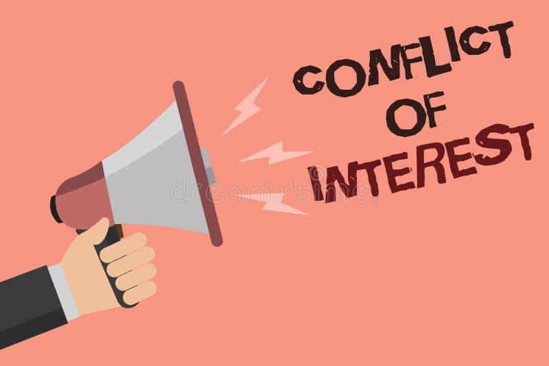 O conceito do negócio do conflito de interesses do texto da escrita da palavra para discordar com o alguém sobre objetivos ou os  ilustração do vetor