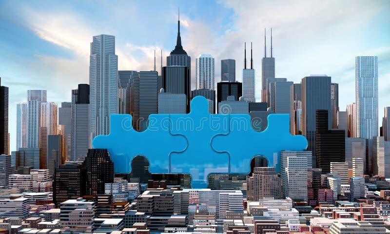 O conceito do negócio da fusão e da aquisição, junta-se ao enigma 3d ilustração royalty free