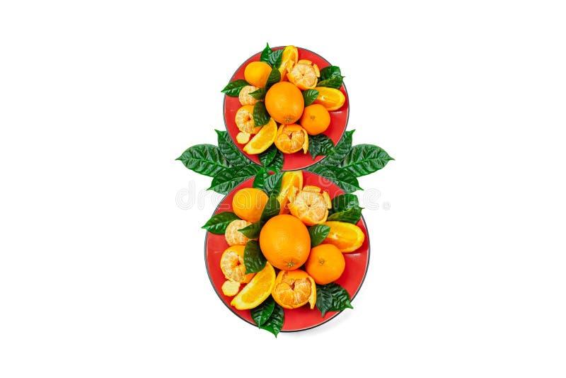 O conceito do oitavo do fruto fresco de março na placa fotografia de stock