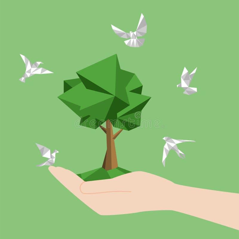 O conceito do pássaro do Livro Branco voa sem papel vai verde ilustração stock