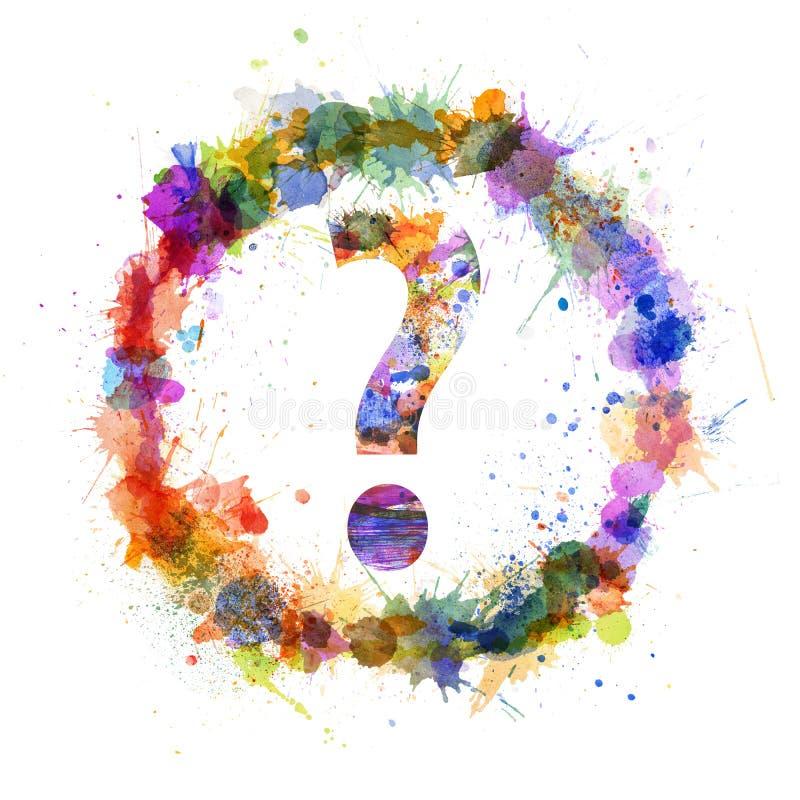 O conceito do ponto de interrogação, aguarela espirra como um sinal ilustração do vetor