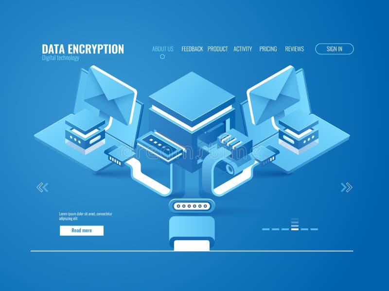 O conceito do processo da criptografia de dados, fábrica dos dados, automatizou a emissão do email e das mensagens ilustração stock