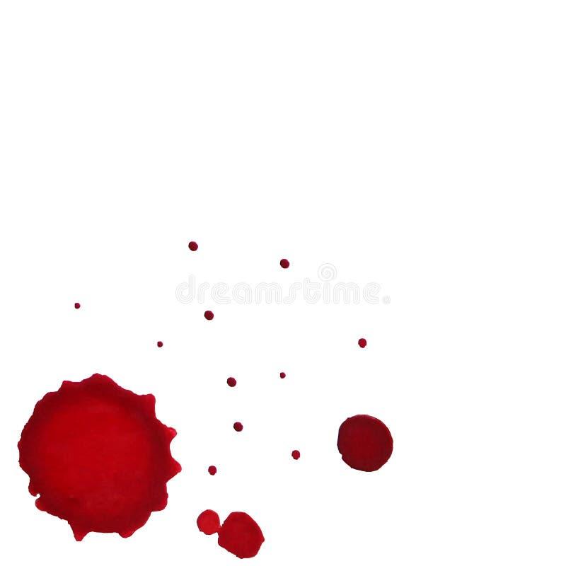 O conceito do respingo e das manchas do vinho, aquarela espirra no fundo branco ilustração stock
