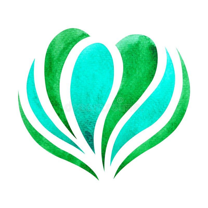 O conceito do símbolo do chakra do coração, floresce floral, pintura da aquarela ilustração royalty free