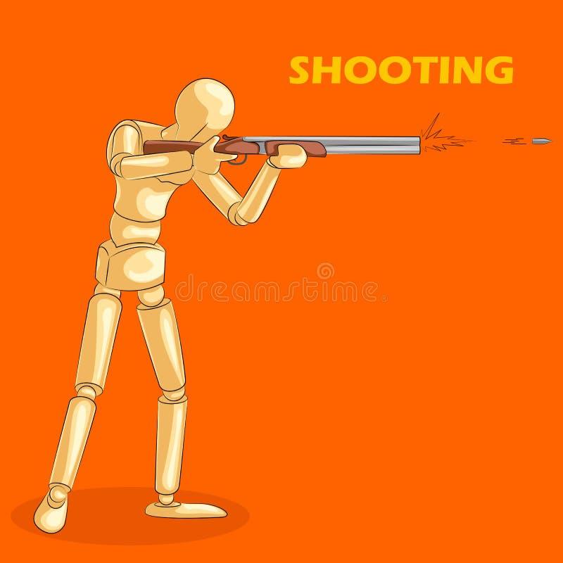 O conceito do tiro ostenta com o manequim humano de madeira ilustração royalty free