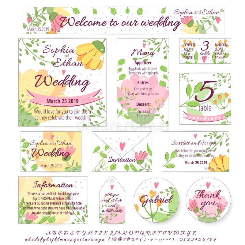 O conceito do vetor do projeto do casamento ajustou-se com convite, menu, cartão bonito, envelope, tampa, cartaz Coleção do conce ilustração royalty free