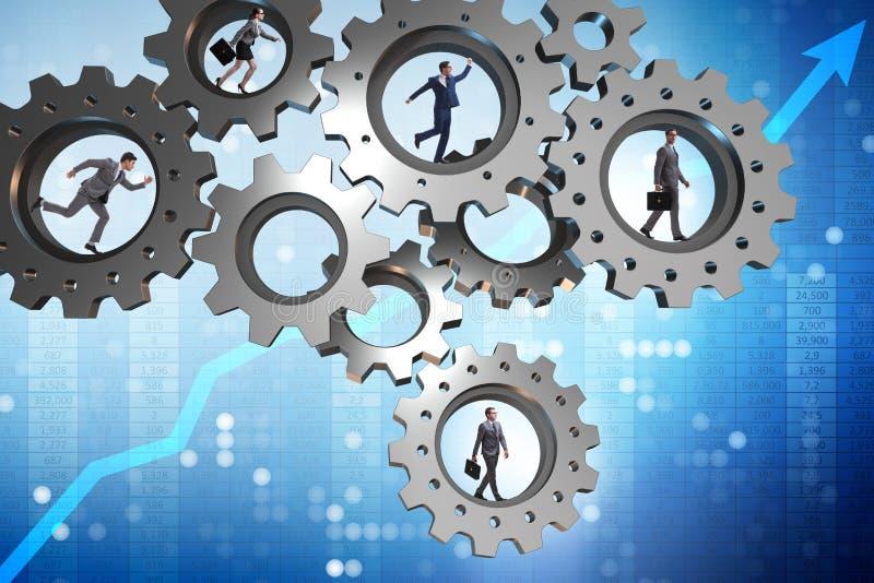 O conceito dos trabalhos de equipa com rodas denteadas e executivos ilustração stock