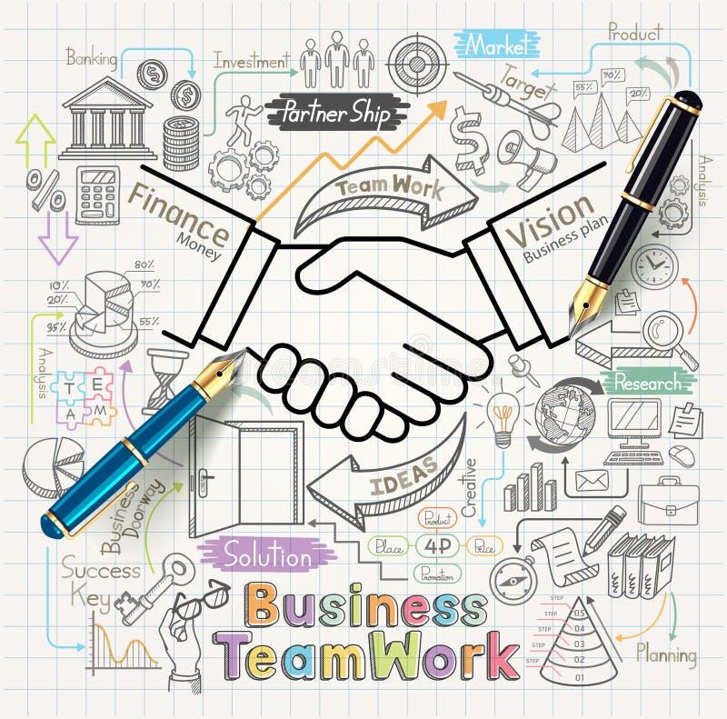 O conceito dos trabalhos de equipa do negócio rabisca os ícones ajustados ilustração do vetor