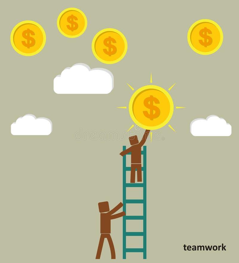 O conceito dos trabalhos de equipa O homem de negócios toma uma moeda do céu ilustração stock