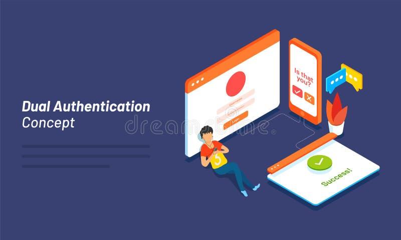 O conceito duplo da autenticação baseou o projeto isométrico com illustra ilustração stock