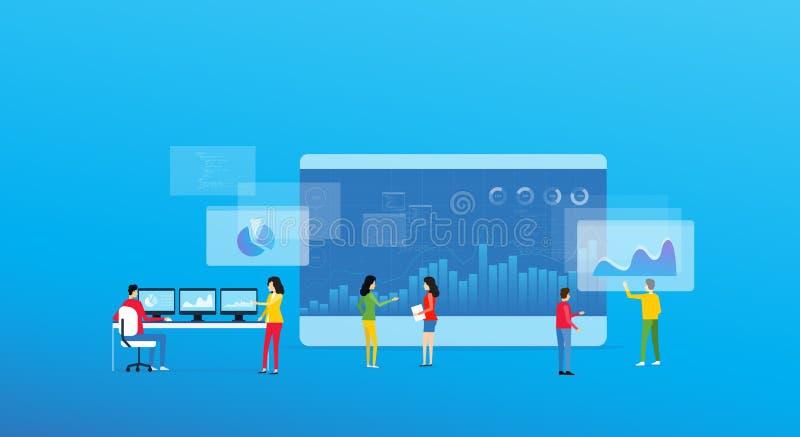 O conceito e o negócio de projeto da analítica do negócio team a reunião para trabalhar ilustração do vetor