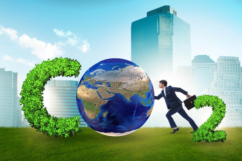 O conceito ecológico das emissões de gases de efeito estufa ilustração stock