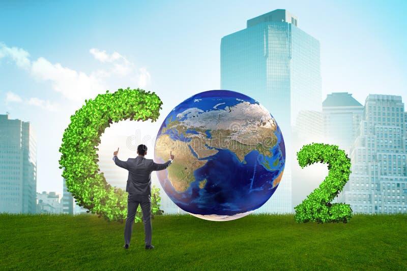 O conceito ecológico das emissões de gases de efeito estufa ilustração royalty free