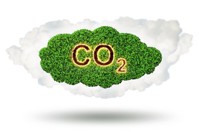 O conceito ecológico das emissões de gases de efeito estufa - rendição 3d ilustração do vetor