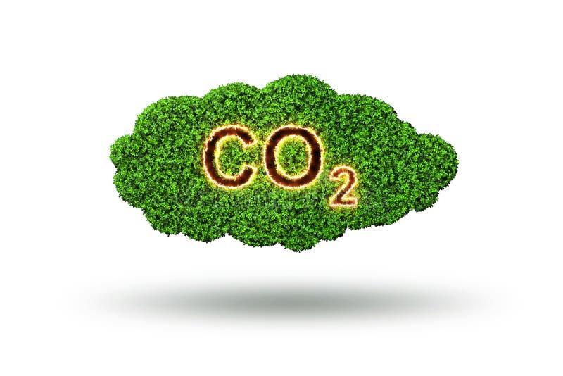 O conceito ecológico das emissões de gases de efeito estufa - rendição 3d ilustração stock