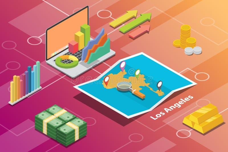 O conceito financeiro isométrico da condição da economia da cidade de Los Angeles Califórnia para descreve o crescimento das cida ilustração royalty free