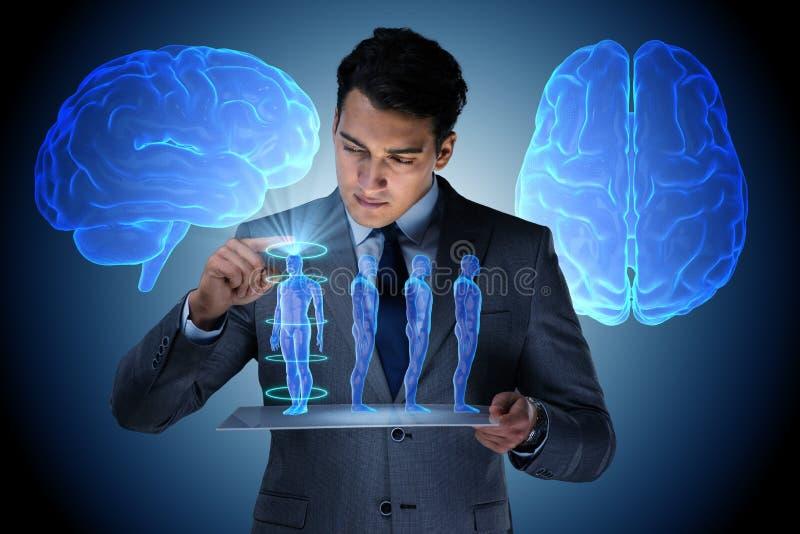 O conceito futurista dos diagnósticos remotos com homem de negócios fotos de stock royalty free