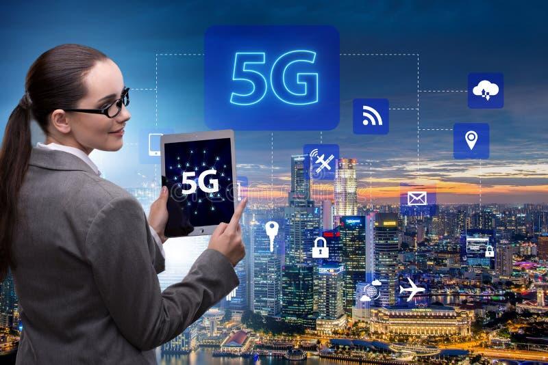 O conceito 5g da tecnologia da conex?o a Internet foto de stock royalty free