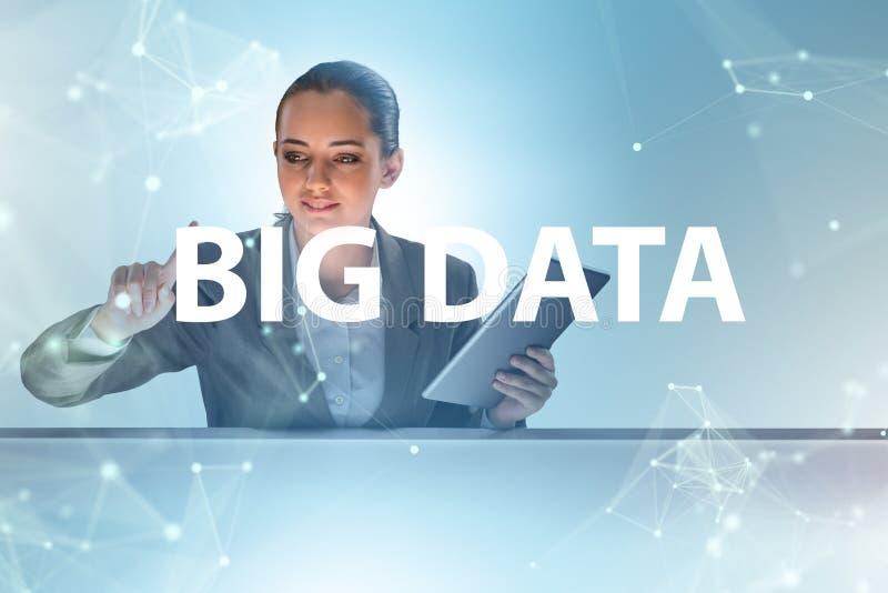 O conceito grande dos dados com o analista da mineração de dados foto de stock royalty free