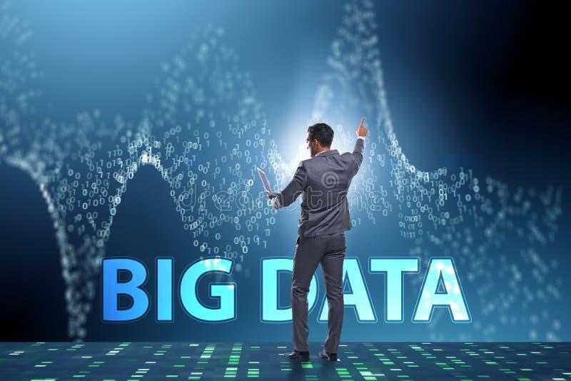 O conceito grande dos dados com o analista da mineração de dados fotografia de stock royalty free