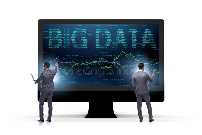 O conceito grande dos dados com o analista da mineração de dados imagem de stock