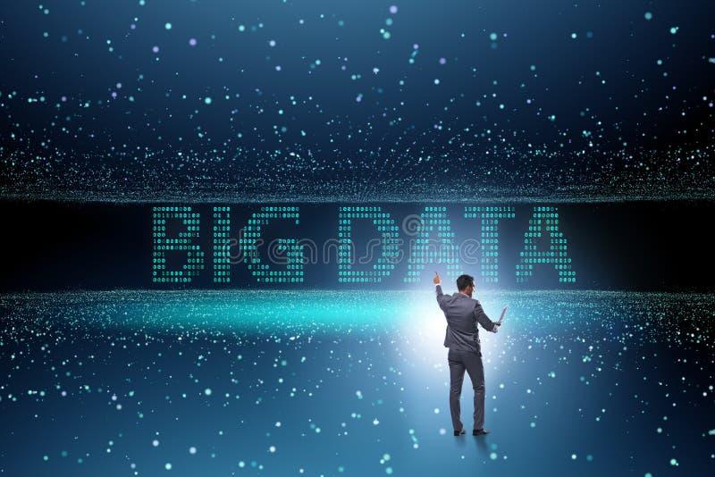 O conceito grande dos dados com o analista da mineração de dados fotos de stock royalty free