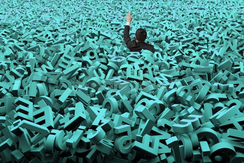 O conceito grande dos dados, homem de negócios foi inundado com os caráteres verdes enormes