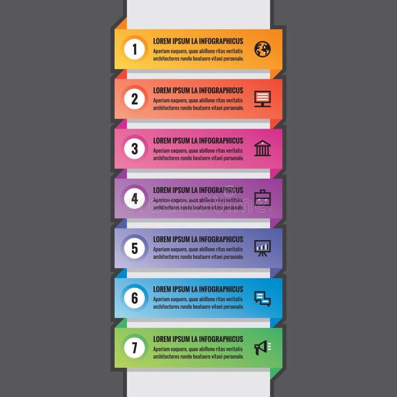 O conceito infographic do negócio - bandeiras coloridas horizontais na estrutura vertical - vector a disposição para a apresentaç ilustração stock