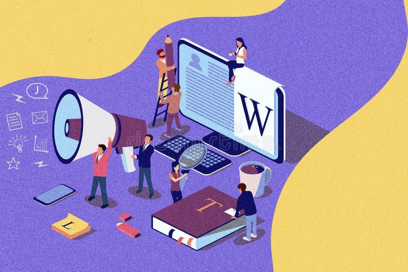O conceito isométrico publicando em blogs criativo da ilustração, pessoa que aprende sobre publicar em blogs criativo ou copywrit ilustração royalty free