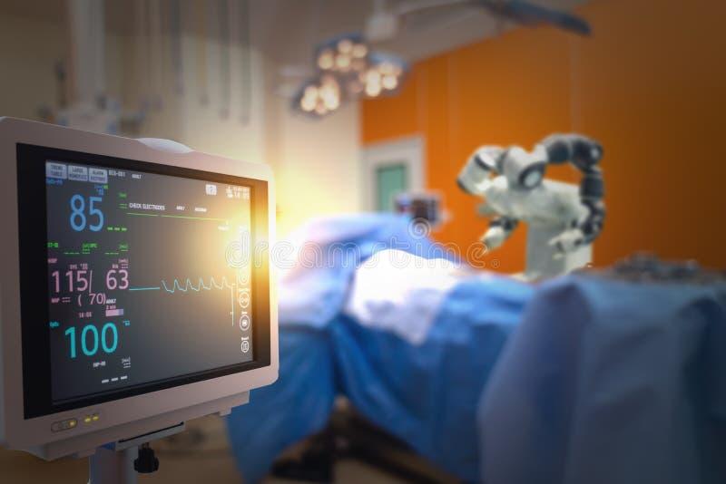 O conceito médico esperto da tecnologia, máquina robótico avançada da cirurgia no hospital, cirurgia robótico é precisão, miniatu fotografia de stock