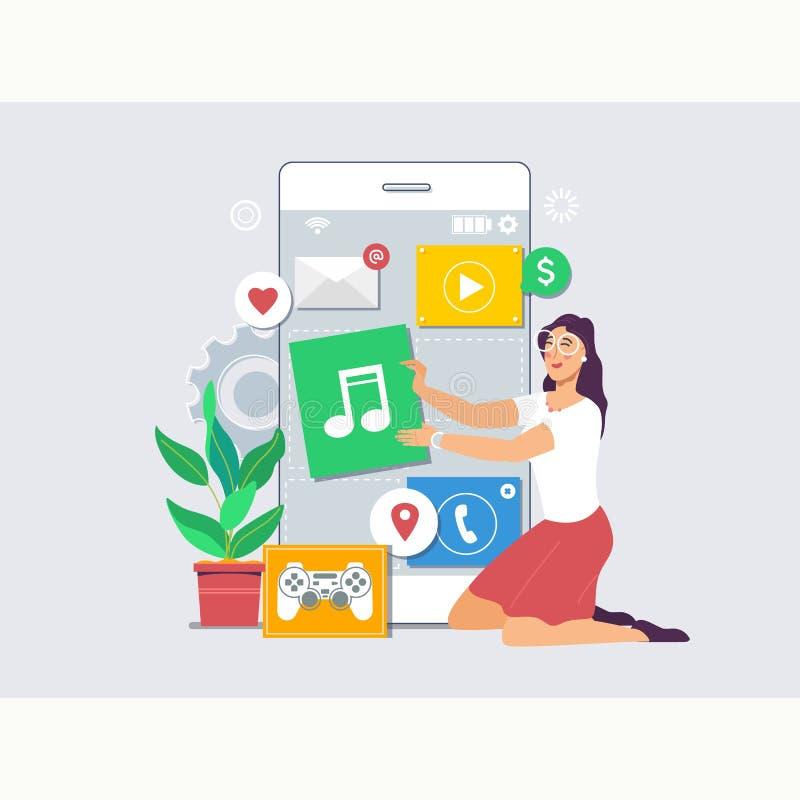 O conceito móvel do desenvolvimento de aplicações e do processo de projeto com negócio team o conceito de trabalho Vetor liso mod ilustração royalty free