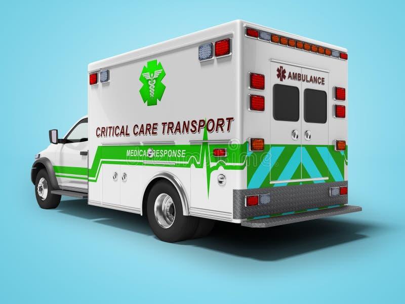 O conceito moderno da ambulância com 3d verde rende inserções no fundo azul com sombra ilustração stock