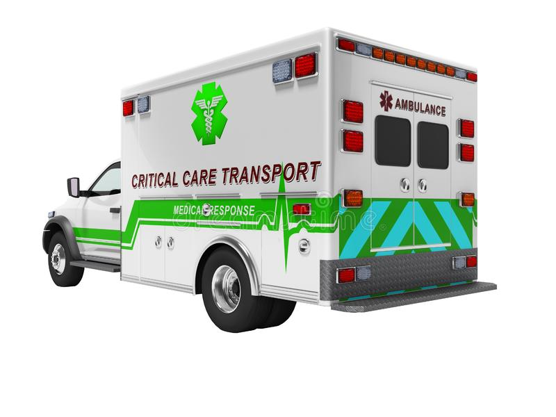 O conceito moderno da ambulância com 3d verde rende inserções no fundo branco nenhuma sombra ilustração royalty free