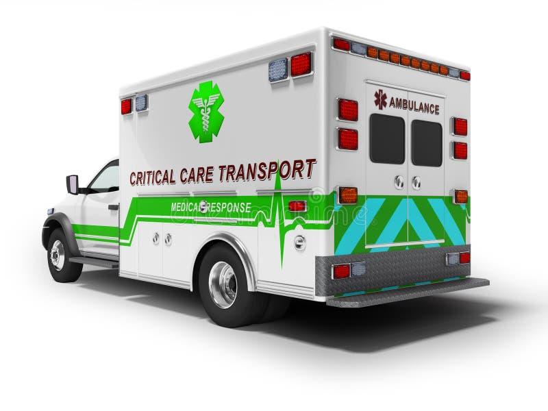 O conceito moderno da ambulância com 3d verde rende inserções no fundo branco com sombra ilustração royalty free