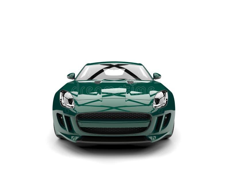 O conceito moderno do verde floresta escuro ostenta a vista dianteira automobilístico ilustração royalty free