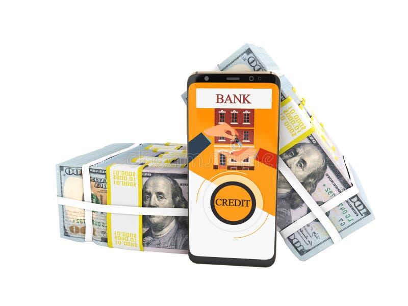 O conceito moderno para tomar o empréstimo através do banco em um acessório no telefone celular 3d não rende no fundo branco nenh ilustração royalty free