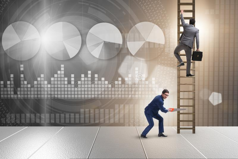 O conceito não-ético da competição do negócio com homens de negócios ilustração stock