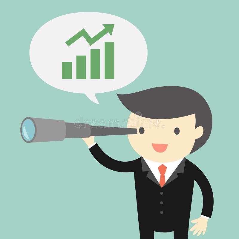 O conceito, o chefe/homem de negócios do negócio que usa seu telescópio e consideram a oportunidade sobre o negócio ilustração stock