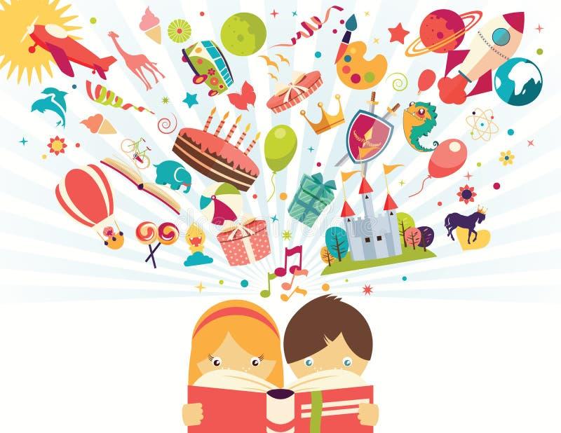 O conceito, o menino e a menina da imaginação lendo um livro objetam o voo ilustração stock