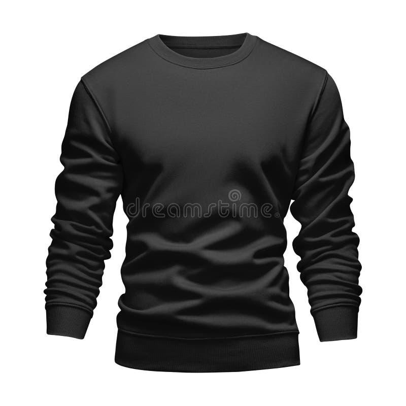O conceito ondulado da camiseta do preto do modelo da placa dos homens com luvas longas isolou o fundo branco Pulôver vazio do mo imagem de stock
