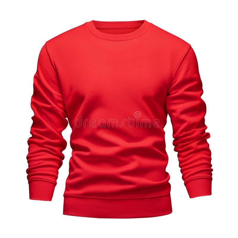 O conceito ondulado da camiseta vermelha do modelo da placa dos homens com luvas longas isolou o fundo branco Pulôver vazio do mo fotografia de stock