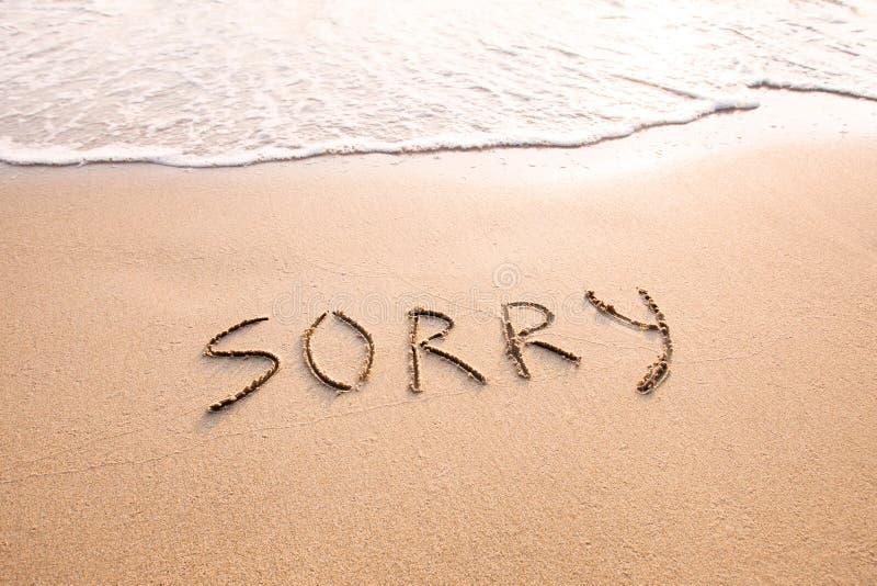 O conceito pesaroso, desculpa e desculpa-se imagem de stock