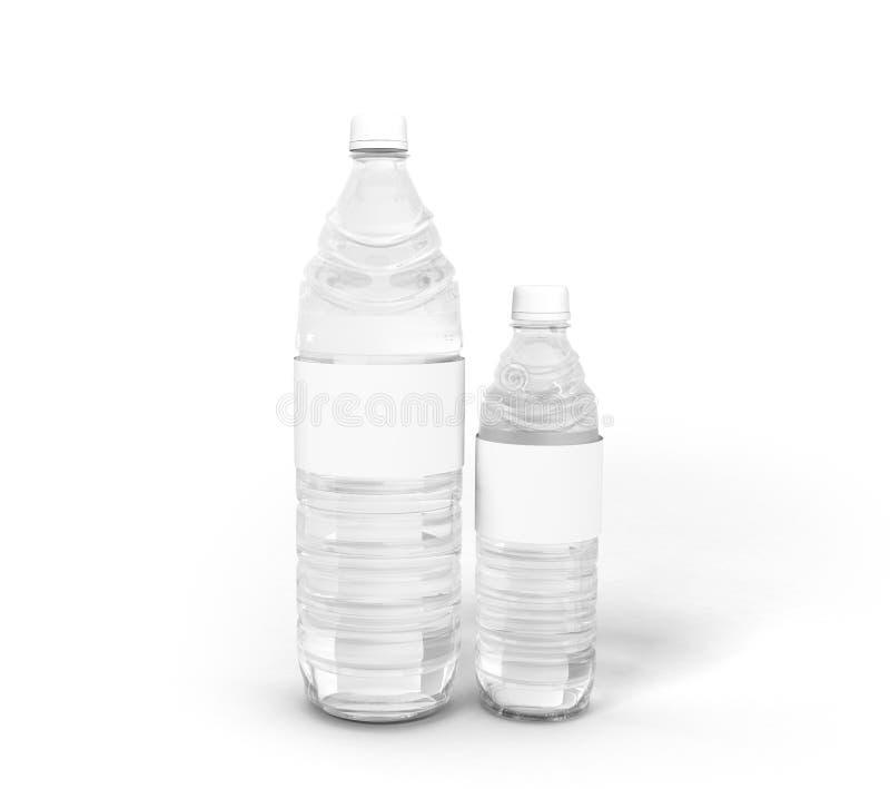 O conceito plástico grande e pequeno 3d da garrafa rende no backgrou branco foto de stock royalty free