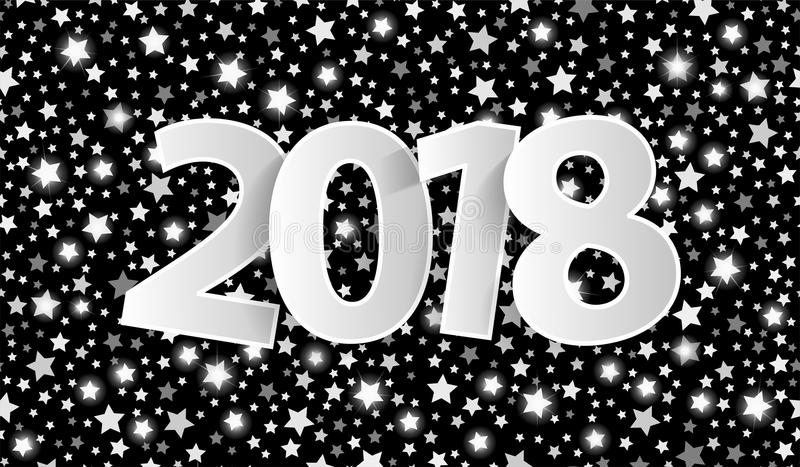 O conceito 2018 preto do cartão do ano novo feliz com papel de prata cuted os números brancos ilustração royalty free