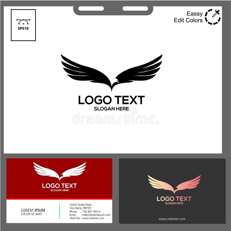 o conceito preto e branco do vetor minimalista do logotipo da ?guia fotografia de stock royalty free