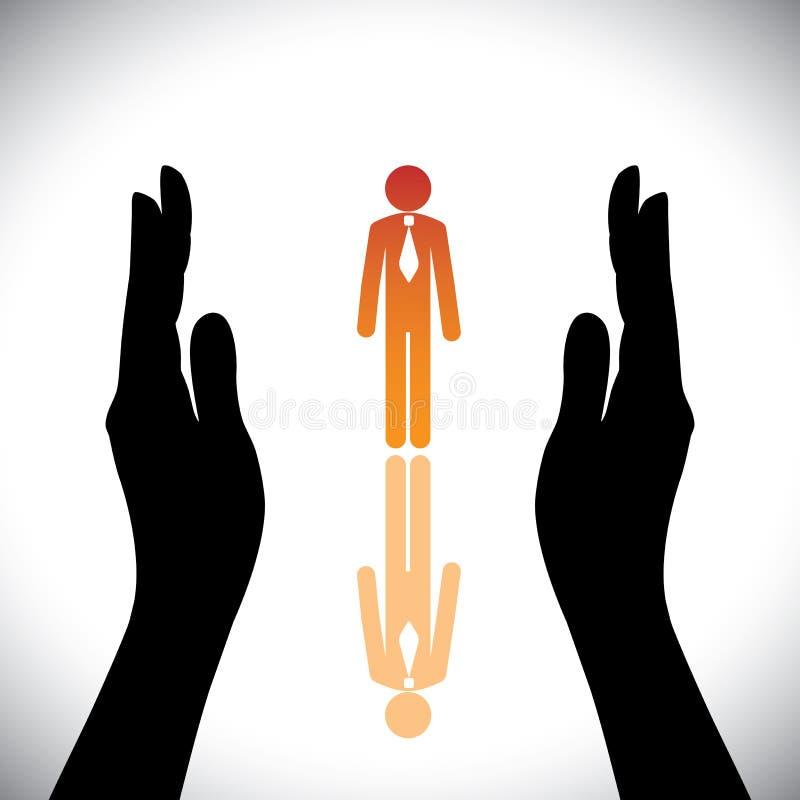 O conceito protege o empregado ou o executivo incorporado da empresa ilustração stock