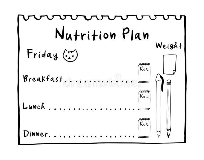 O conceito saudável da refeição para a perda de peso, calorias conta em kcal Ilustração dos desenhos animados do plano da nu foto de stock royalty free