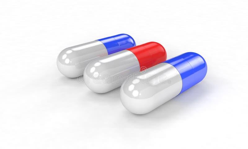 O conceito selecionado dos comprimidos, 3d rende ilustração stock