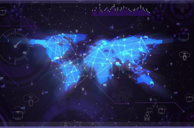 O conceito social das redes com mapa do mundo ilustração do vetor