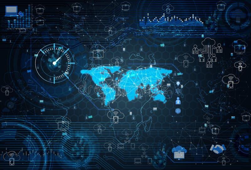 O conceito social das redes com mapa do mundo ilustração stock